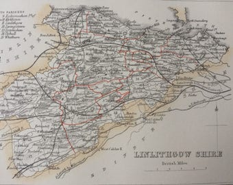 1870 Linlithgowshire Original Antique Map, Scotland county cartography, mounted and matted 10 x 12 inches, Available Framed