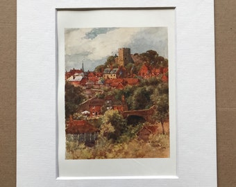 1907 Lewes Castle Original Antique Print - Mounted and Matted - Available Framed - Sussex - England