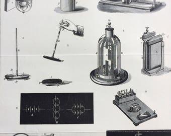 1900 Electricity Original Antique Print - 9 x 10.5 inches - Diagram - Technology - Electrometer - Electroscope - Wall Decor - Home Decor