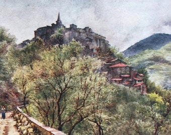 1907 Apricale From the West Original Antique Print - Italian Rivera - Italy - Mounted and Matted - Available Framed