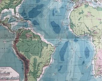 1903 Atlantic Ocean - Cables & Ocean Depths Original Antique Map - Oceanography - Vintage Wall Map