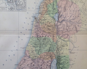 1873 CANAAN or PALESTINE (Israel) original antique map, cartography, historical map, wall decor, home decor, W & A. K Johnston Atlas