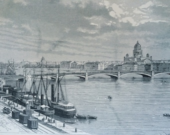 1895 The Neva at St Petersburg Original Antique Engraving - Mounted and Matted - Russia - Available Framed