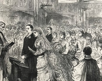 1883 Marriage of the Son of Lord Selborne to the Daughter of the Marquis of Salisbury Original Antique Engraving - Victorian Decor