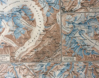 1895 Glaciers Original Antique Map - Available Mounted and Matted - Ice - Meteorology - Vintage Map