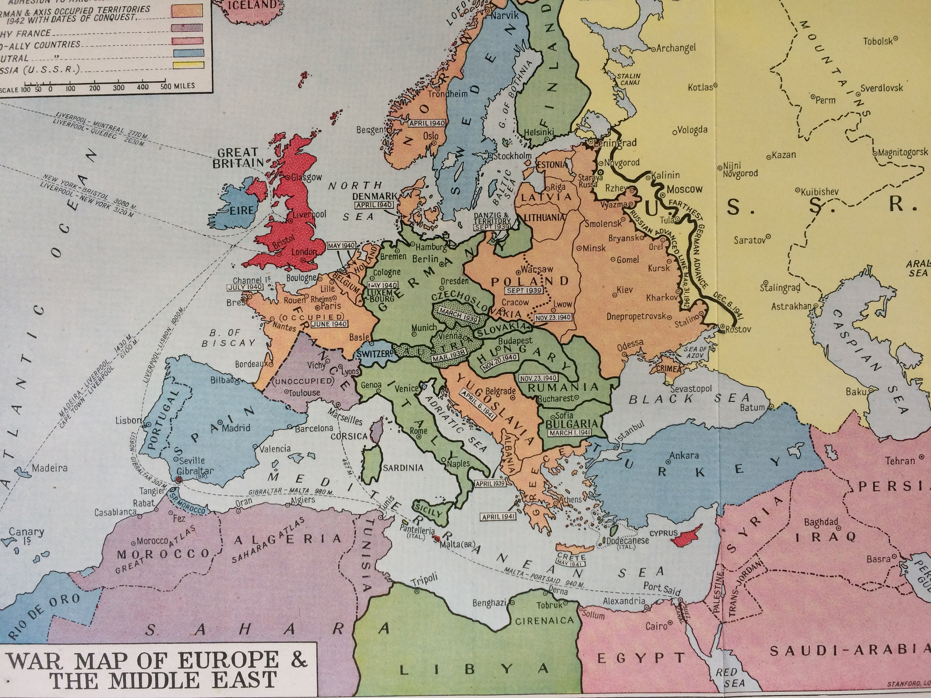 1940s War Map of Europe & the Middle East Original Vintage ...