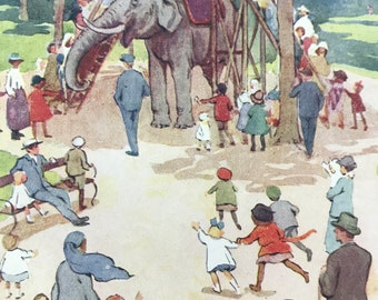 1919 Elephant Rides Original Vintage Margaret W. Tarrant Illustration - Animal Art - Available Framed - Nursery Decor - Children's Book