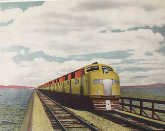 1943 Streamliner City of San Francisco, crossing Salt Lake Original Vintage Photo Print - Utah - Railway - Available Framed