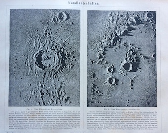 1877 Lunar Landscape Large Original Antique print - Available Mounted and Matted - Astronomy - The Moon - Lunar Crater - Victorian Decor