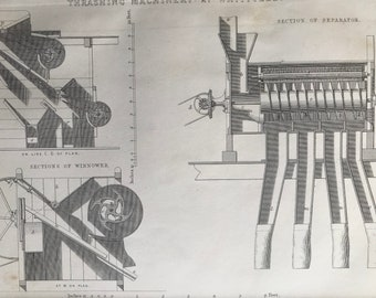 1858 Thrashing Machinery at WhitfieldOriginal Antique Engraving - Victorian Technology - Agriculture - Available Framed