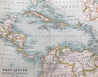 1912 West Indies and Central America Original Antique Map - Mounted and Matted - Available Framed