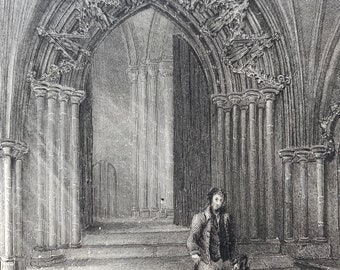 1838 Norwich Cathedral - Entrance to the Cloisters Original Antique Engraving - Architecture - Mounted and Matted - Available Framed