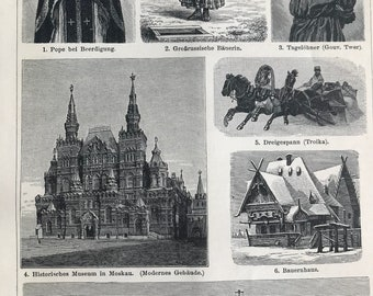 1897 Russian Culture Original Antique Print - Mounted and Matted - Anthropology - Architecture - Troika - Orthodox Priest - Available Framed