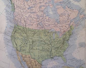 1873 NORTH AMERICA original antique map, cartography, geography, historical map, wall decor, home decor, W & A. K Johnston Atlas