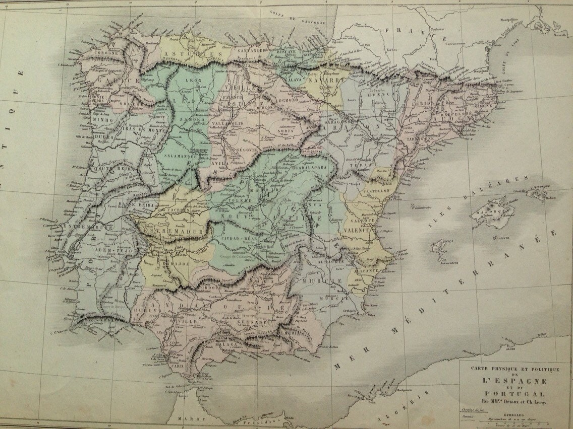 Picture of: 1866 Spain Portugal Large Original Antique Map Physical And Political Geography Cartography Pastel Colours Wall Decor