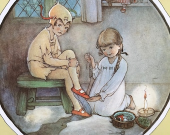1980 Peter Pan Illustration Original Vintage Print - Nursery Decor - Children's Literature - Mounted and Matted - Available Framed