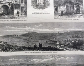 1877 The Volunteer Review at Dunstable antique print from engraving, Illustrated London News Cover, 19th Century History