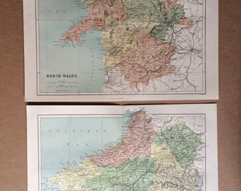 1868 Wales Set of 2 original antique maps, cartography, geography, wall decor, gift idea, victorian Decor, 13 x 10.5 Inches