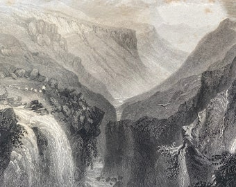 1840 Head of Glenmalure, County Wicklow Original Antique Engraving - Landscape Scenery - Ireland - Mounted and Matted - Available Framed
