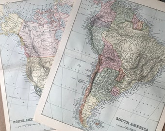 1891 North & South America Set of 2 Original Antique Maps - Vintage Wall Decor - USA - Canada - Mexico - Central America - Cartography