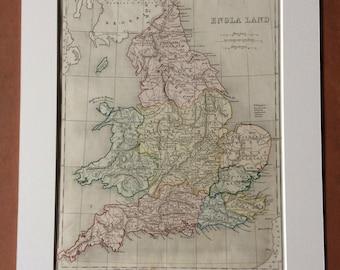 1865 ENGLA LAND (Ancient England) Original Antique Hand-Coloured Ancient History Map - Latin - Classics - Wales - Scotland - Britain