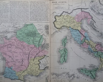 1866 Ancient Italy and Ancient France -  large original antique map - Gaule Ancienne - Italie Acienne - French Atlas Map - Ancient History