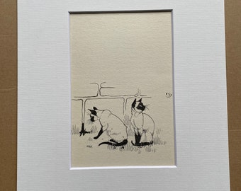 1957 Original Vintage Maurice Wilson Illustration - Siamese Cat - Mounted and Matted - Available Framed