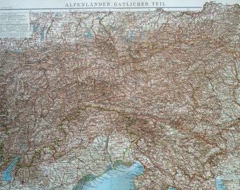 1914 THE ALPS (Eastern Part) Large Original Antique Map, 17 x 22 inches, historical wall decor, Debes Atlas, Home Decor, Cartography