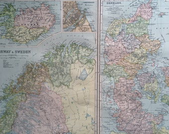 1898 SCANDINAVIA large original antique map, 21.5 x 13.5 inches, historical wall decor, George W Bacon map, Norway, Sweden, Denmark, Iceland