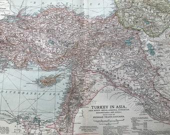 1903 Turkey in Asia Original Antique Map - Asia Minor (Anatolia), Armenia, Kurdistan, Mesopotamia, Syria, Russian Trans-Caucasia, Ottoman