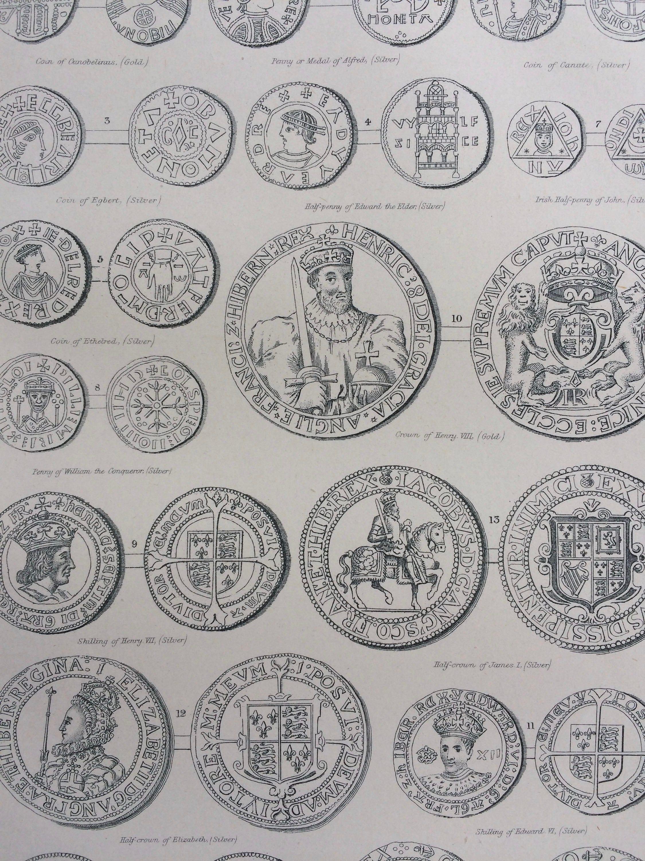 1904 Numismatics - English Coins Original Antique Print - Exonumia