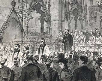 1877 Marriage of Miss Northcote and Mr Reginald M'Leod at Westminster Abbey Original Antique Engraving - Available Framed