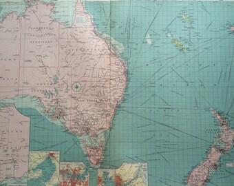 1920 Australia & New Zealand ports mercantile marine map - extra large original vintage map