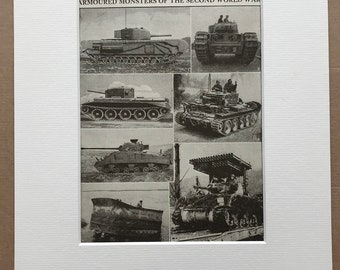 1940s Armoured Monsters of the Second World War Original Vintage Print - Mounted and Matted - Tank - Military decor - Available Framed