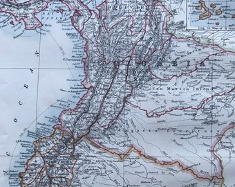 1901 Colombia and Ecuador Original Antique Map with inset map of the Galapagos Islands - Mounted and Matted - Available Framed