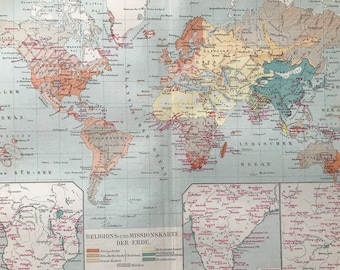 1896 Religions and Missions Original Antique World Map with inset maps of Southern Africa, India and China - Available Mounted and Matted