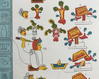1891 Pictorial Writing of Mexico Original Antique Encyclopaedia Illustration - Alphabet - Script - Linguistics - Available Framed