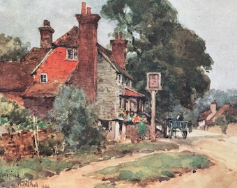 1907 Hartfield - The Inn Original Antique Print - Mounted and Matted - Available Framed - Sussex - England