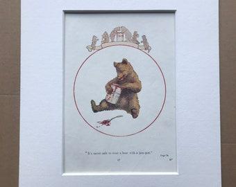 1919 Bear Original Vintage Margaret W. Tarrant Illustration - Animal Art - Available Framed - Nursery Decor - Children's Book