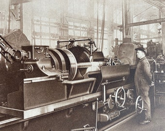 1933 A Piston rod grinding machine in a Railway Workshop Original Vintage Print - Machinery - Mounted and Matted - Available Framed