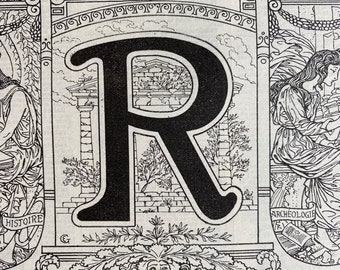 1923 Letter R Art Nouveau Original Antique Print - Mounted and Matted - Decorative Art - Alphabet - Gift Idea - Name Day Present