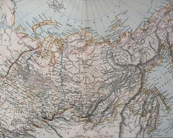 1875 SIBERIA large original antique map, Russia, cartography, geography, wall decor, home decor, encyclopaedia britannica