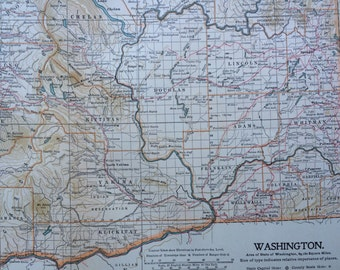 1903 WASHINGTON Original Large Antique Map - Wall Map - Home Decor - Cartography - 11 x 16 Inches - Detailed Map - Geography