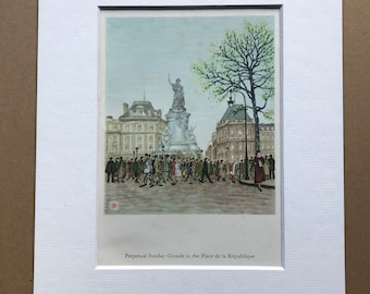 1956 Paris - Sunday Crowds in the Place de la Republique Original Vintage Chiang Yee Illustration - Mounted and matted - Available Framed
