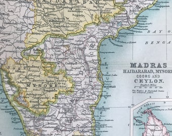 1912 Madras, Haidarabad, Mysore, Coorg and Ceylon Original Antique Map - India - Mounted and Matted - Available Framed