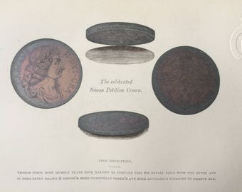 1862 The Celebrated Simon Petition Crown Original Antique Lithograph - Mounted and Matted - Coin - Numismatics - Coin Collector