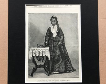 1883 Ranavalona III, The New Queen of Madagascar Original Antique Print - Madagascan History - Mounted and Matted - Available Framed