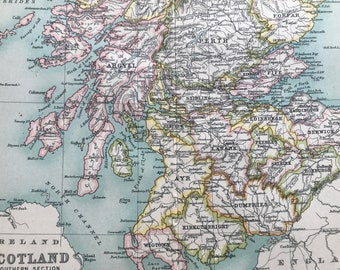 1912 Scotland (Southern Part) Original Antique Map - Mounted and Matted - Available Framed
