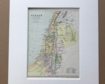 1871 Canaan as divided among the Tribes Original Antique Map - Mounted and Matted - Palestine - Holy Land - Israel - Available Framed