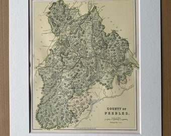 1901 County of Peebles Original Antique Map - Scottish County, Cartography, Scotland - Available Matted and Framed
